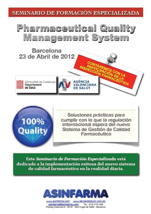 Seminario de Formación: Pharmaceutical Quality Management System
