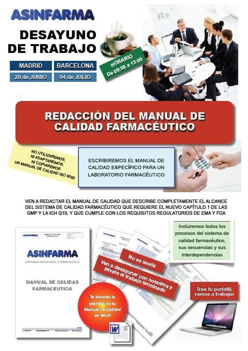 Ven a redactar tu propio Manual de Calidad Farmacéutico
