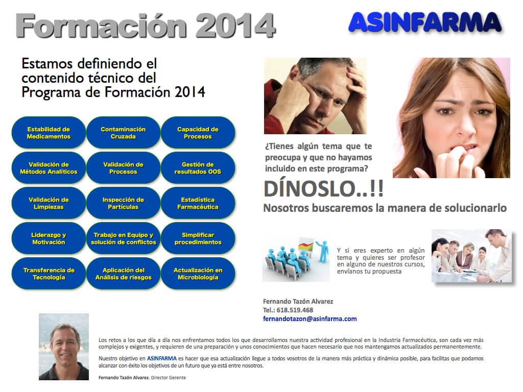 Estamos diseñando el Programa de Formación 2014