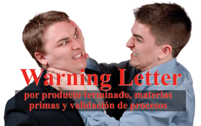 Warning Letter por producto terminado, materias primas y validación de procesos